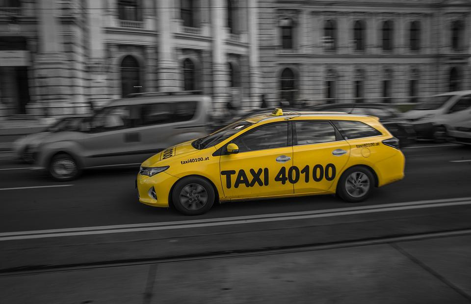 Black And White, Yellow, Cab, City, Street, Cars, Taxi