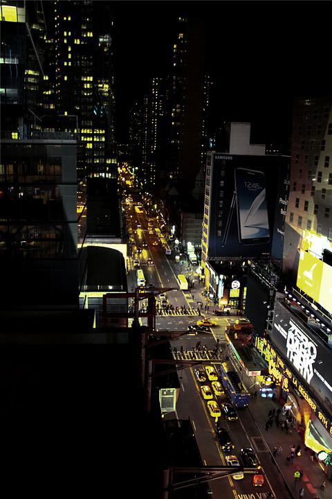 New York, Road, Traffic, Night, Taxi, Yellow, City, Jam