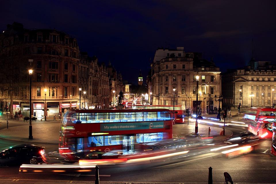 London, Streetlight, Taxi, Building, Night, Dark