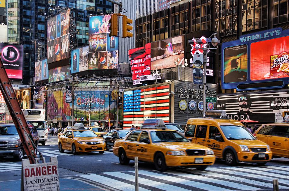 New York, Broadway, Time Square, Usa, Taxi, Big Apple