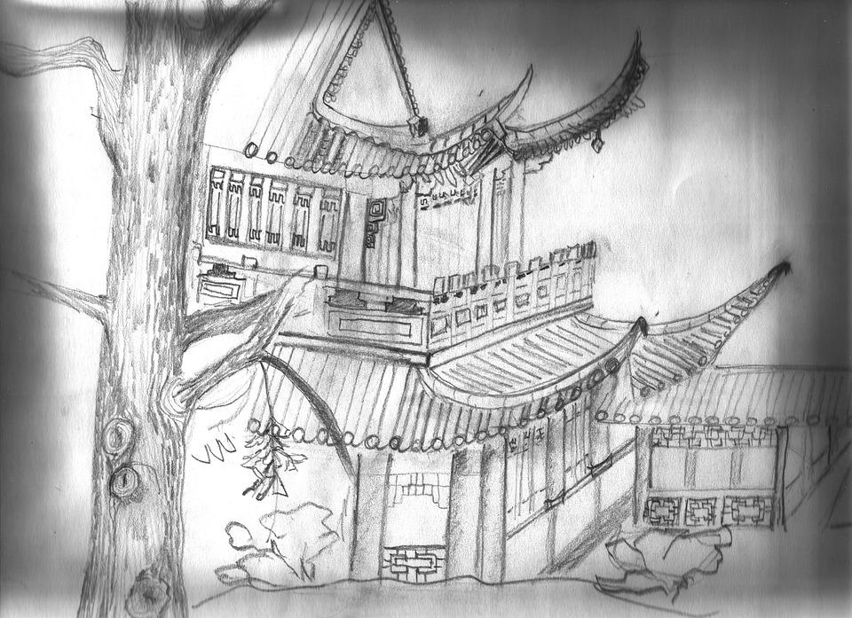 Tea House, Luisenpark, Mannheim, Sketch, Pencil