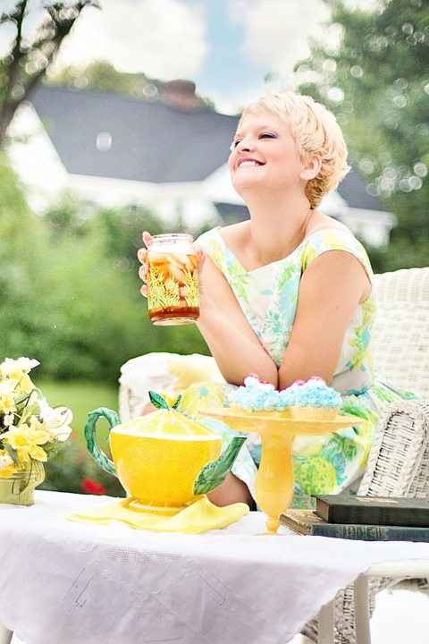 Tea, Summer, Pretty Young Woman, Vintage, Teapot