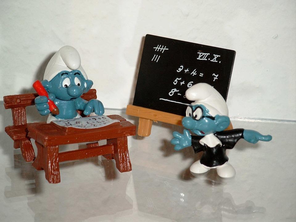 Smurfs, School, Teacher, Students, Tarfel, School Bank