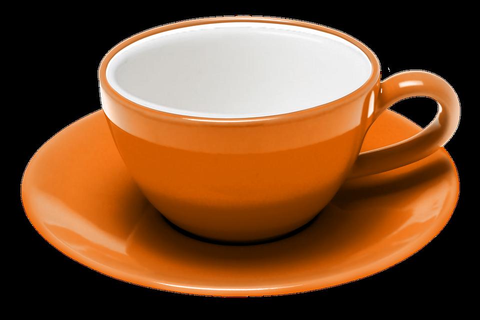 Teacup, Coffee, Saucer, Expresso, Procel, Orange