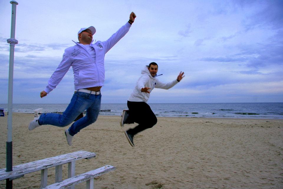 Jump, Teamwork, Sandy, Beach, Sea, Boys, Holidays
