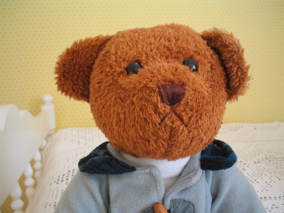 Teddy Bear, Brown, Clothing, Bed, Room, Wall, Toy