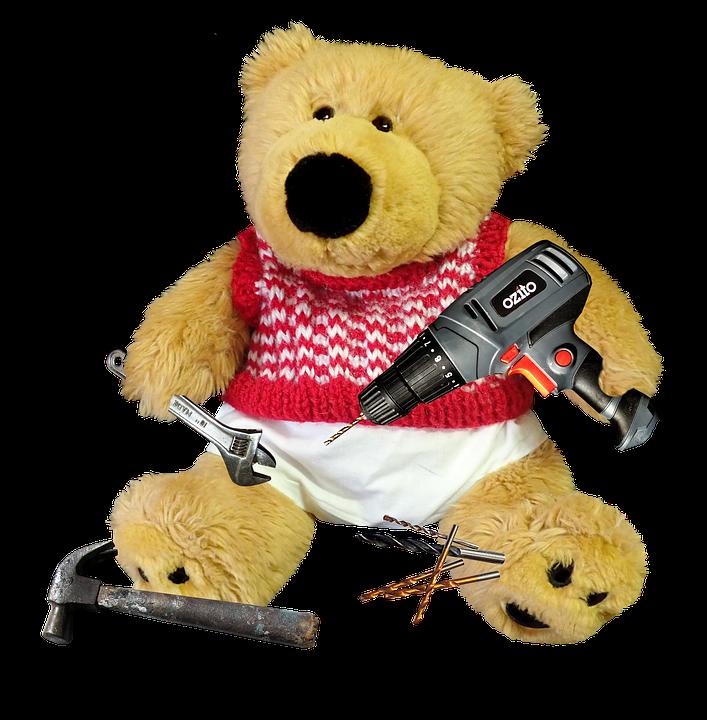 Teddy, Bear, Toy, Childhood, Cute, Tools, Handyman