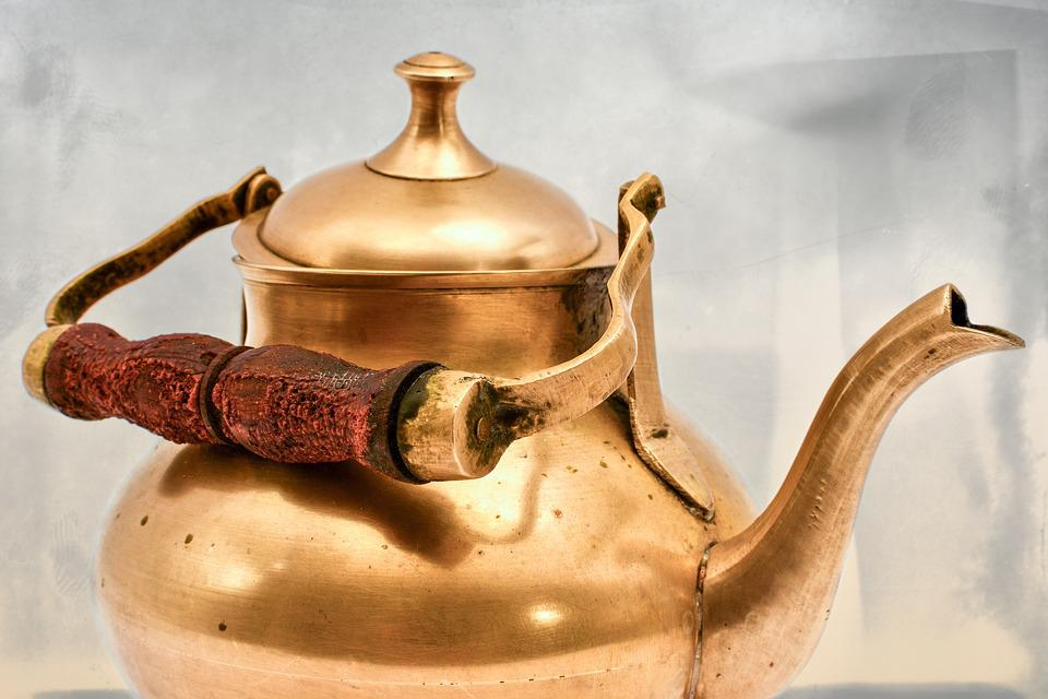 Teapot, Brass, Pot, Wood, Tee, Tableware, Teatime