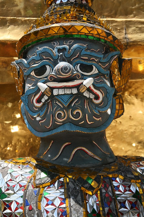 Face, Blue, Teeth, Demon, Gold, Decorated, Patterned