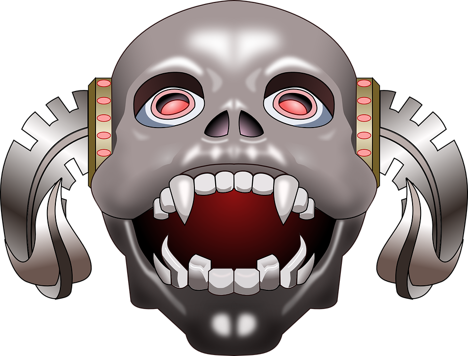 Skull, Horns, Teeth, Scary