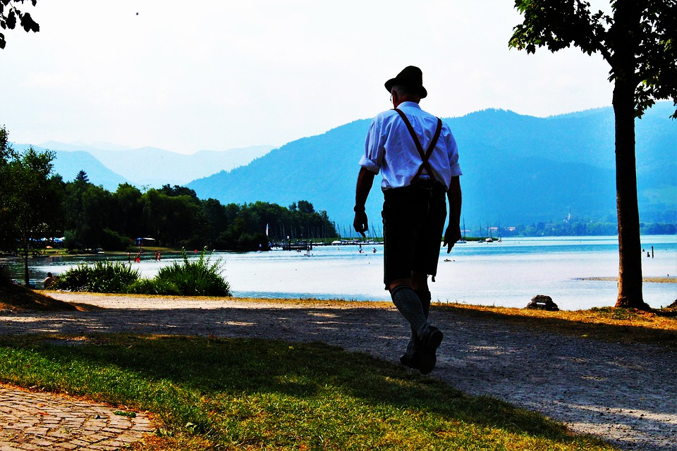 Tegernsee, Bank, Walkers, Costume, Leather Pants