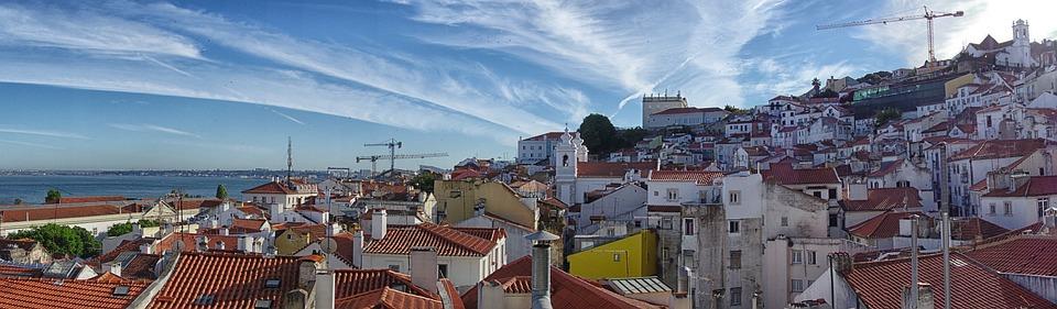 Lisbon, Panorama, Tejo, Historic Center, Alfama