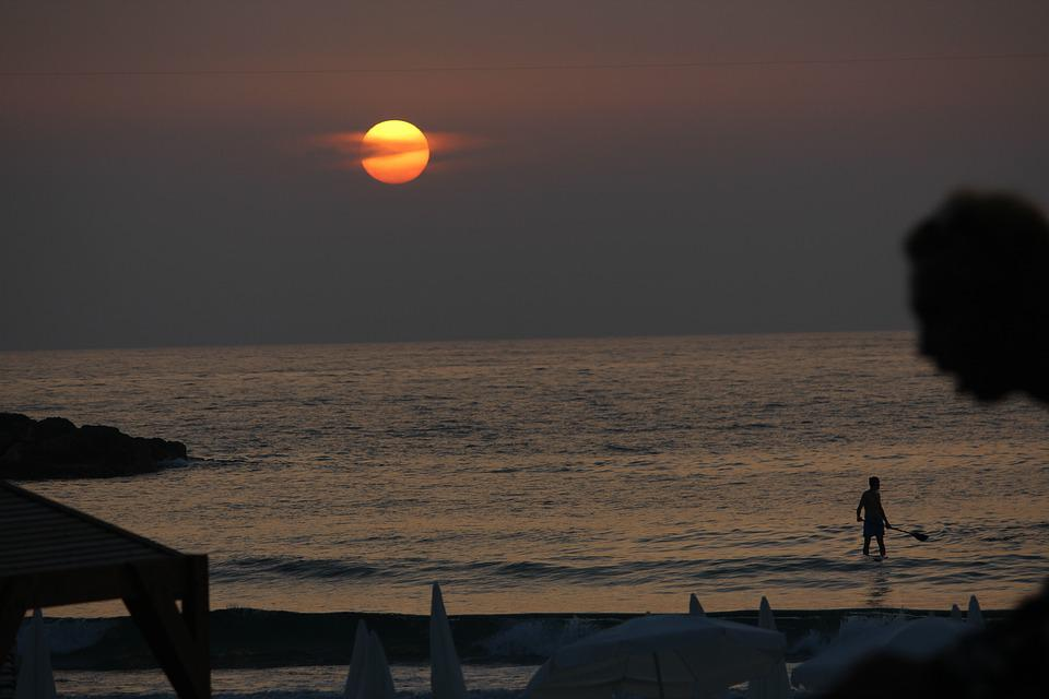 Beach, Sunset, Evening, Dusk, Israel, Tel Aviv