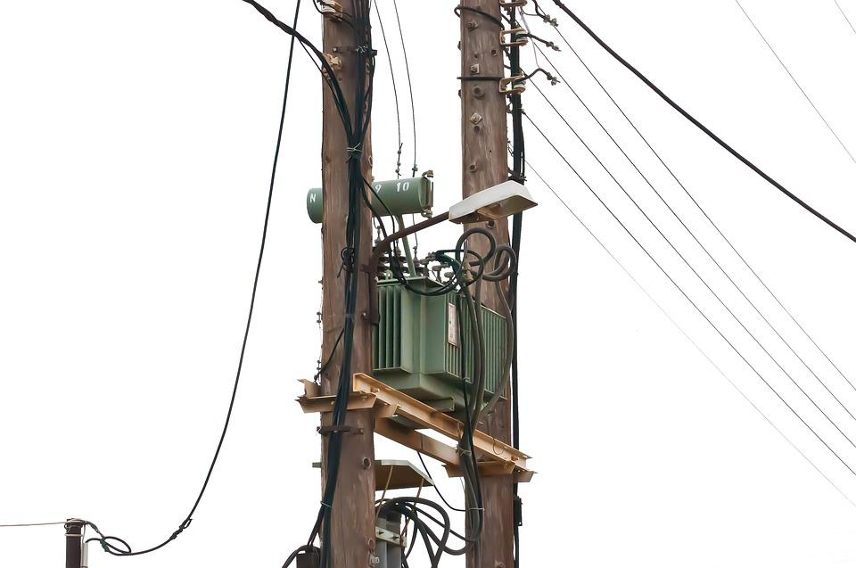 Strommast, Current, Telephone Cable, Connections
