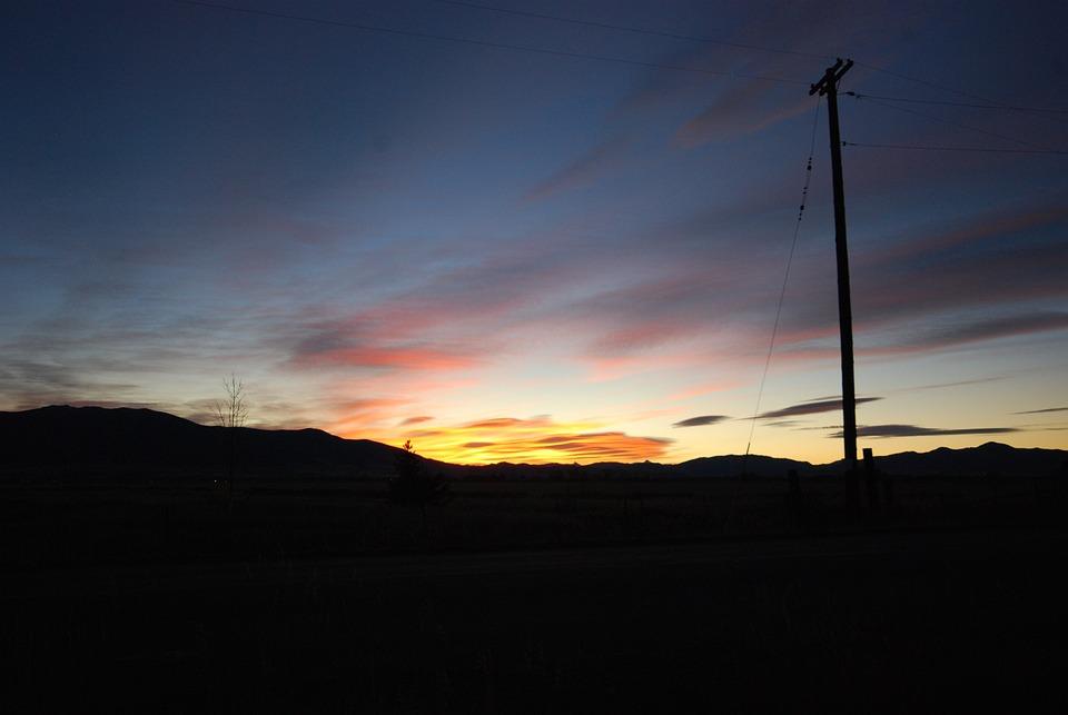 Sunset, Telephone Pole, Silhouette, Sky, Evening Light