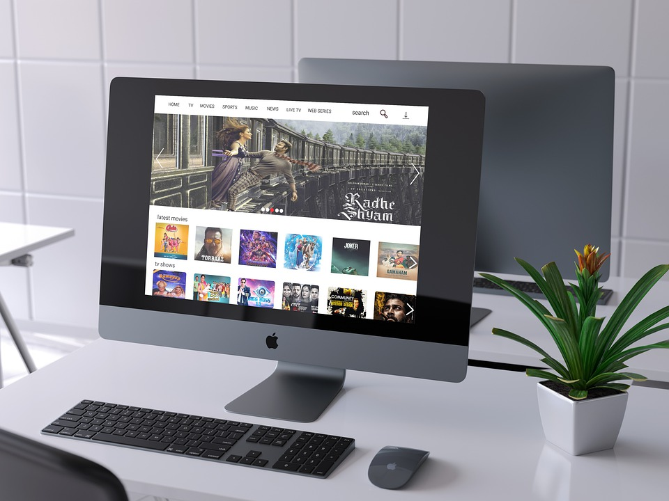 Front View, Grey Wall, Stylish Desk, Tablet, Template