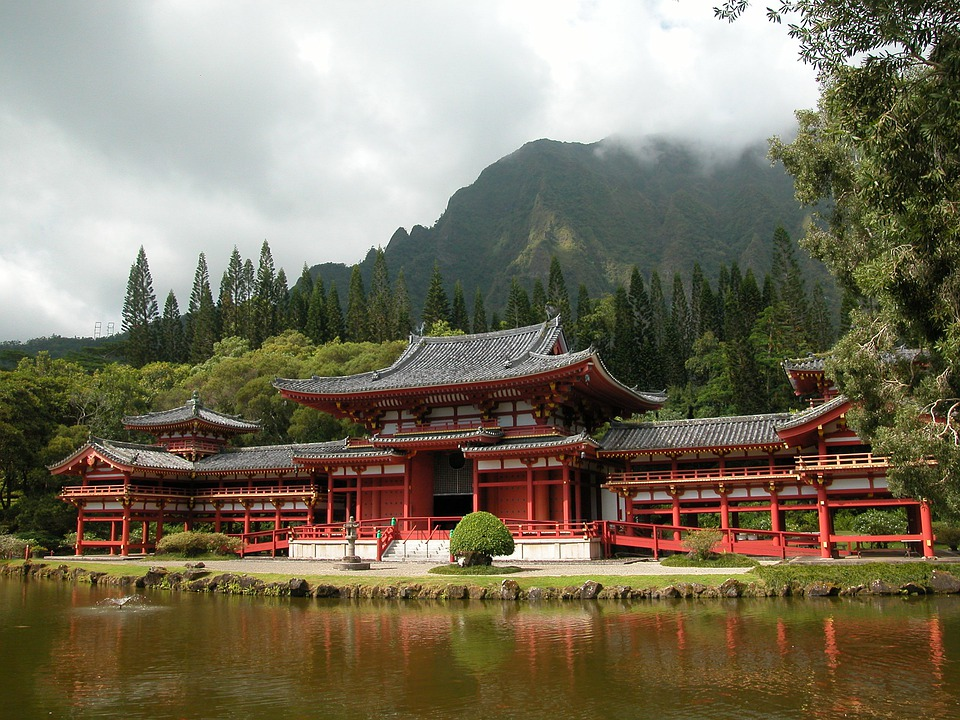 Temple, Hawaii, Trees, Architecture, Building, Landmark
