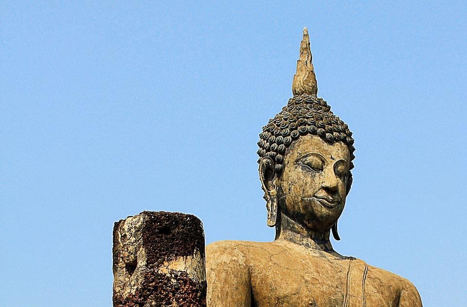 Buddha, Stone, Buddha Head, Temple, Sky, Grey, Thailand