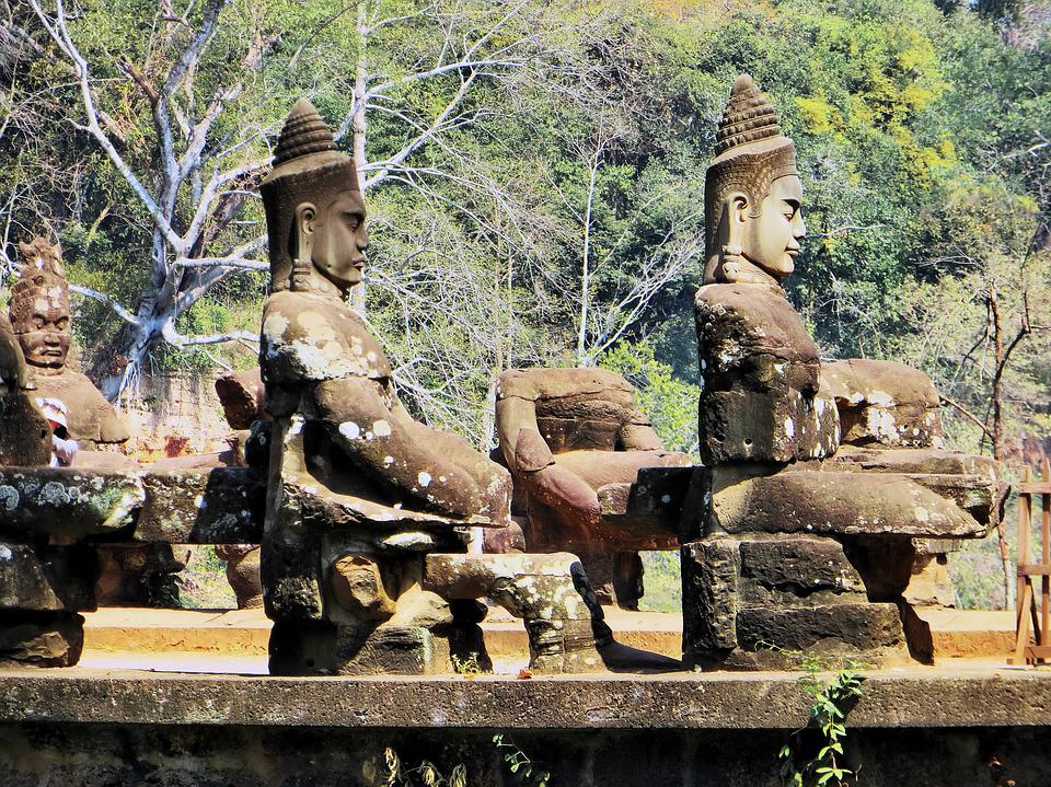 Cambodia, Angkor, Guards, Bayon, Temple, Statues