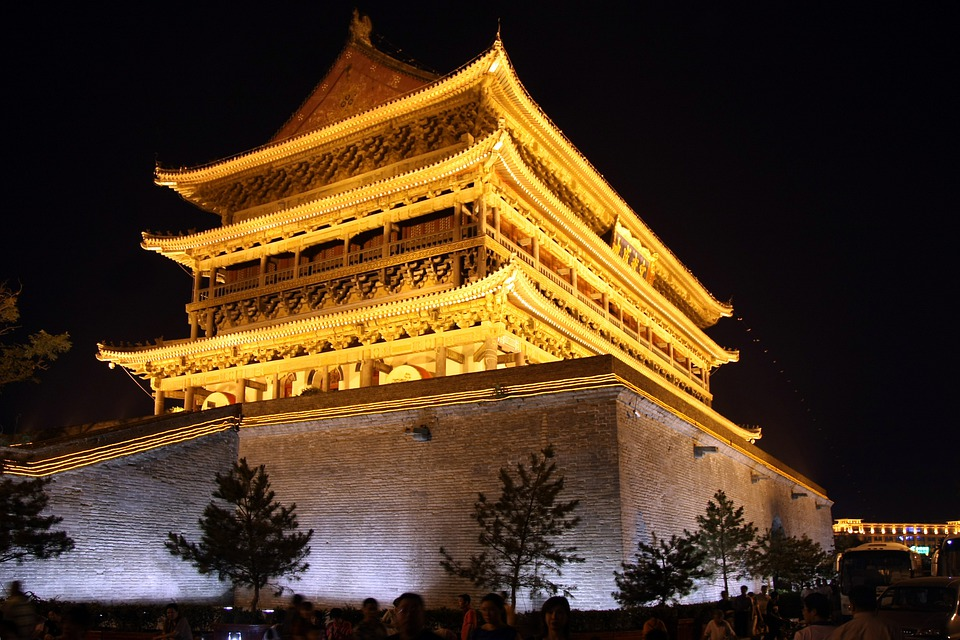 Xian, China, Temple, Building, Night, Evening, Lights