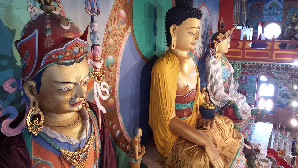 Buddhism, Temple, Gods, Colors