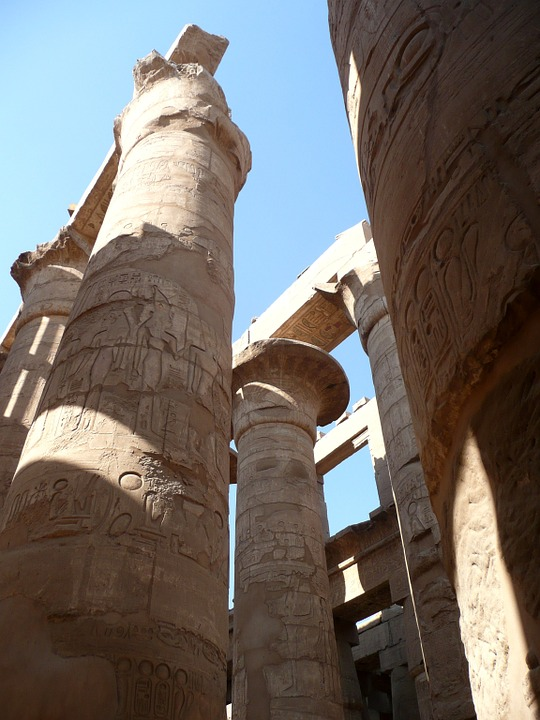 Egypt, Temple, Columnar, Relief, Pharaohs