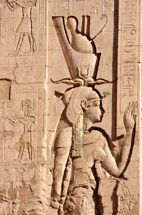 Egypt, Edfu, Temple, Divinity, Double Crown, Woman, Art