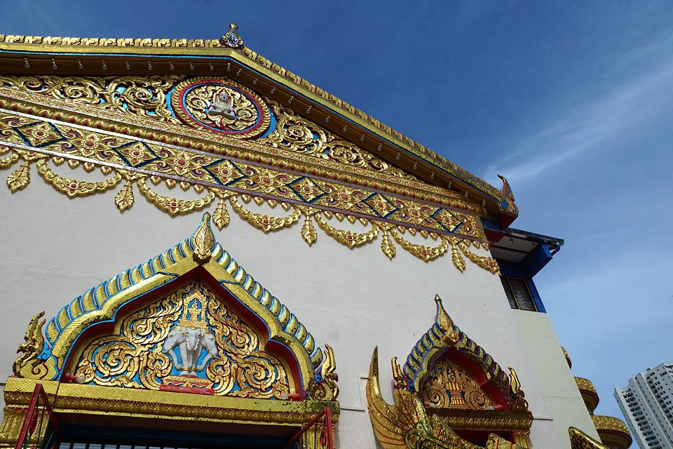 Temple, Ornament, Travel, Architecture, Floral, Golden