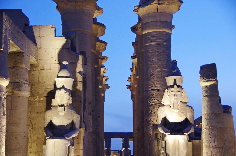 Egypt, Luxor, Temple, Colonnades, Statues, Ramses