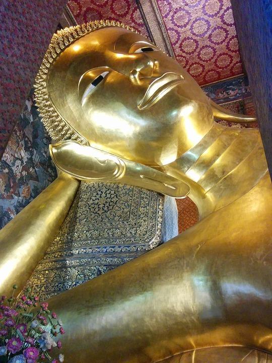 Buddah, Lying, Temple, Thailand, Bangkok, Gold