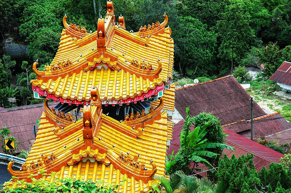 Temple Roof, Yellow, Temple, Malaysia