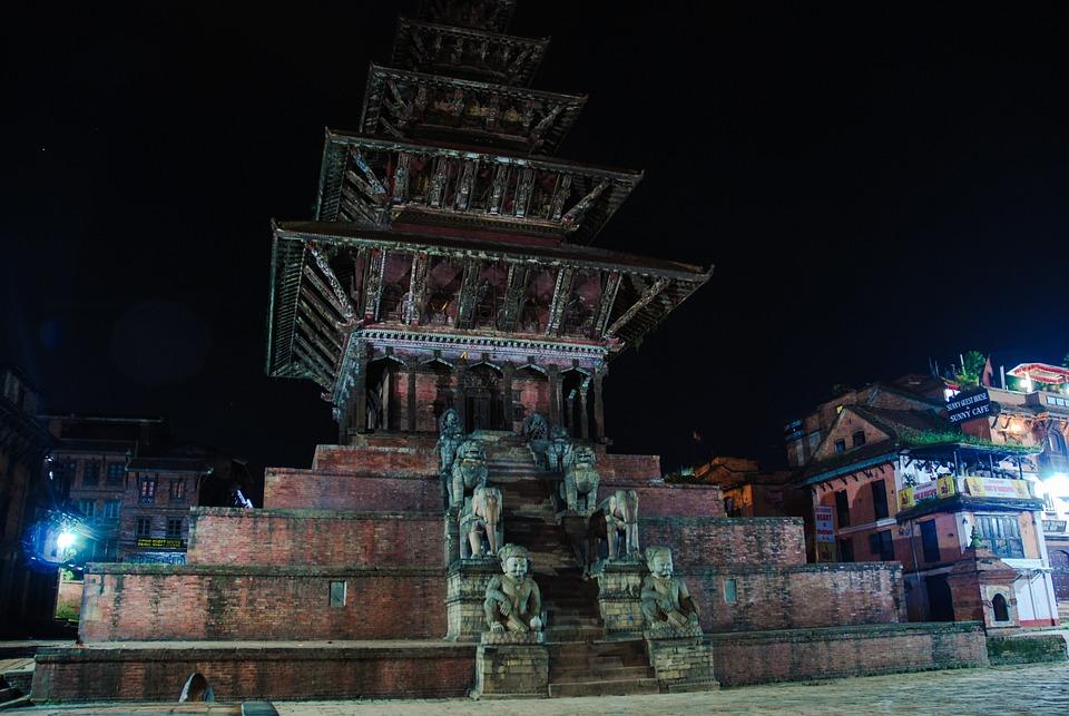 Temple, Hinduism, Night, Nepal