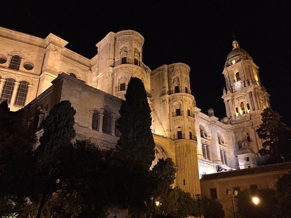 Cathedral, Malaga, Night, Temple