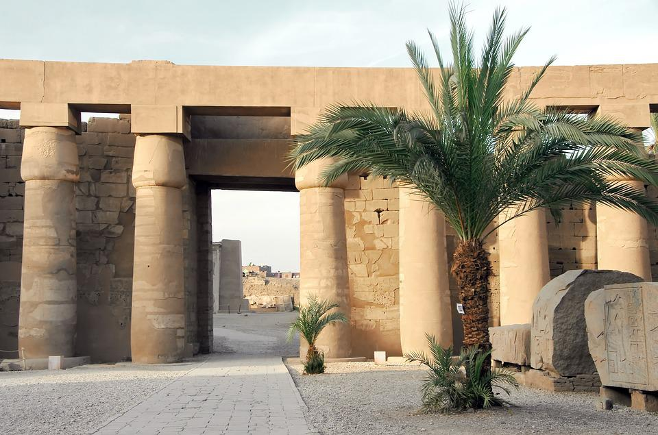 Egypt, Karnak, Temple, Colonnade, Columns, Palm