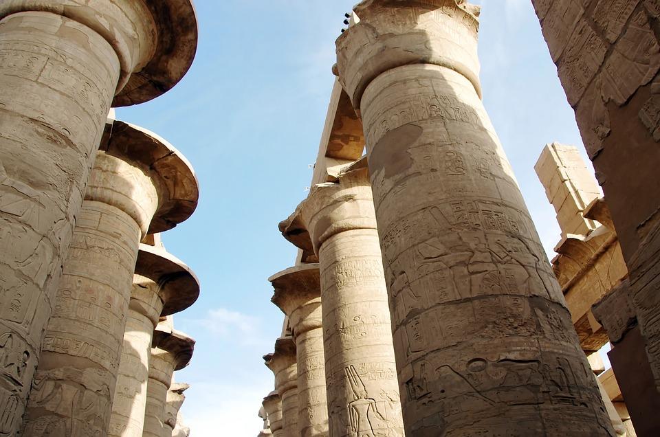 Egypt, Karnak, Temple, Amen, Colonnade, Pillars