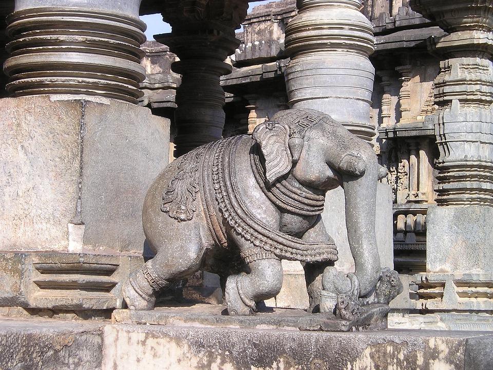 India, Statue, Elephant, Stone, Temple