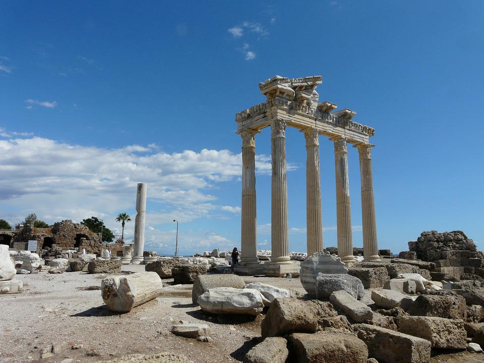 Side, Temple, Peninsula, Antiquity, Turkey, Building