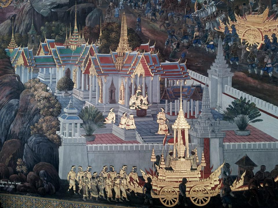 Wall Painting, Temple, Thai