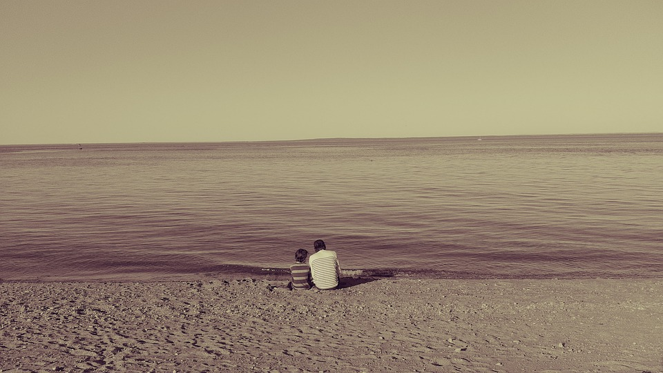 Beach, Father, Son, Family, Love, Tenderness