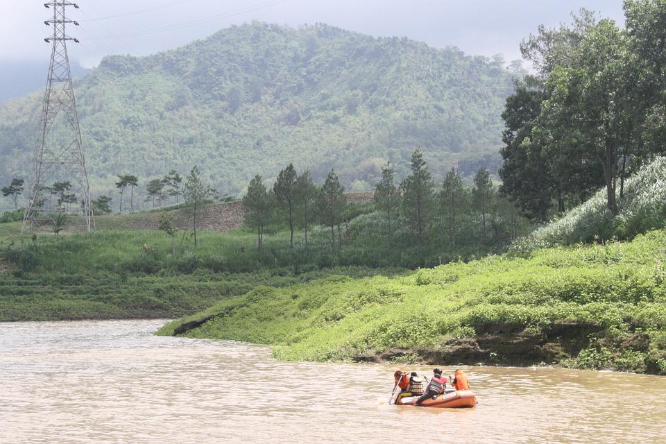 Lake, Rowboat, Indonesian, Java, Tent