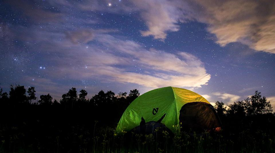 Night Tent Camping Woods Forest Star Galaxy