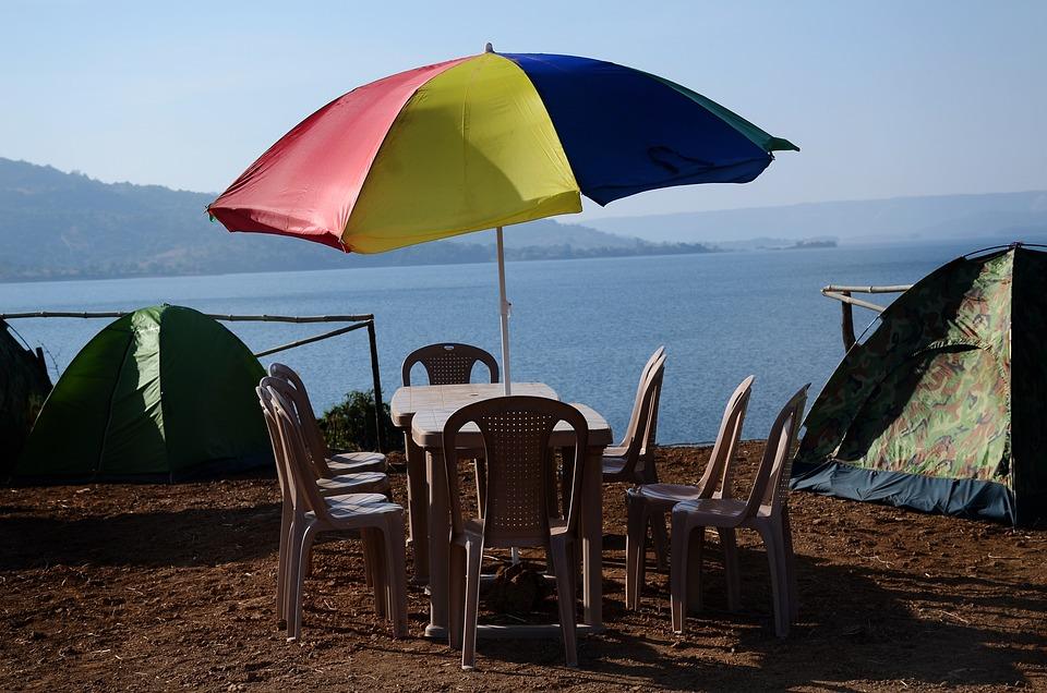 Lake, Umbrella, Table, Chairs, Seats, Tents, Camping