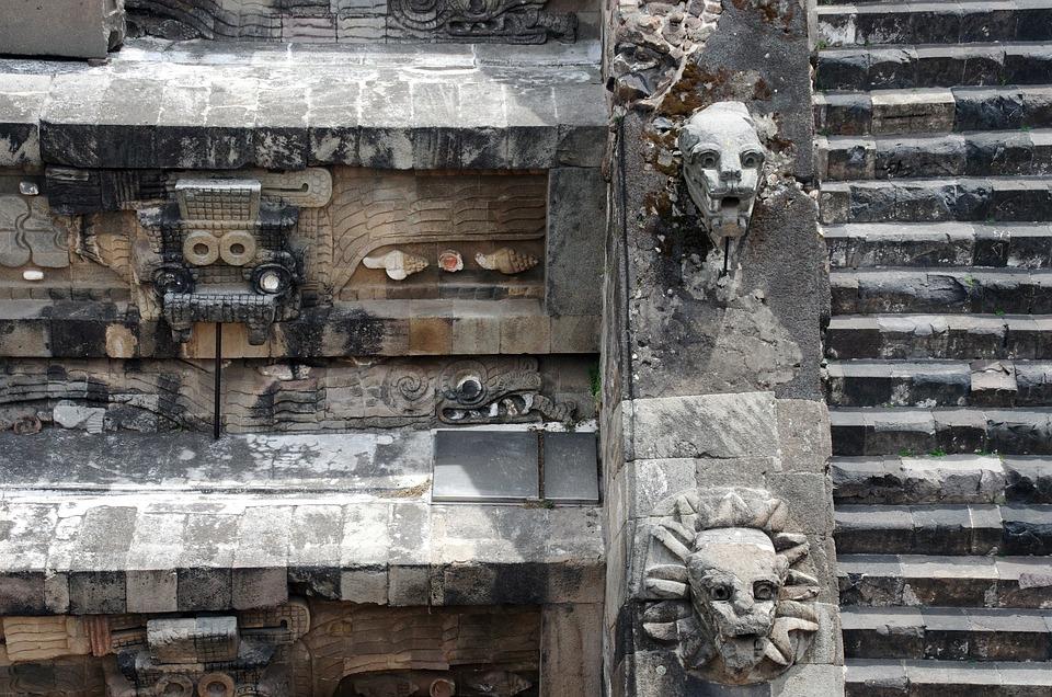Mexico, Teotihuacan, Pyramid, Platform, Statues