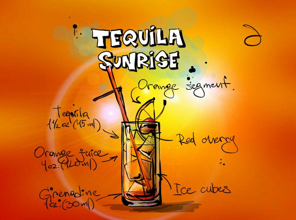 Tequila Sunrise, Cocktail, Drink, Alcohol, Recipe