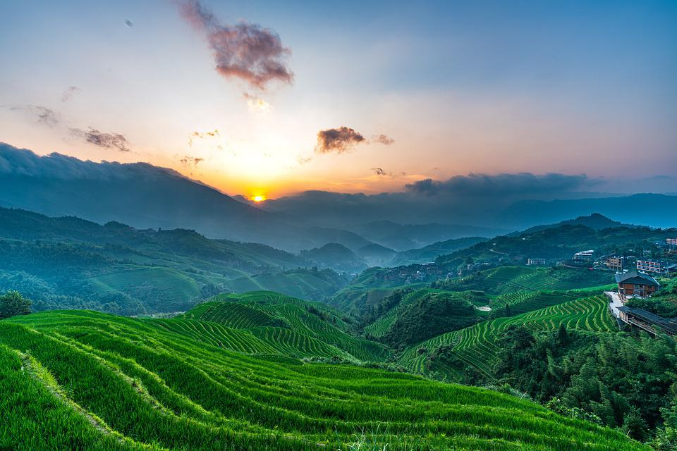 Terrace, Sunrise, Travel, Landscape, China, Guilin
