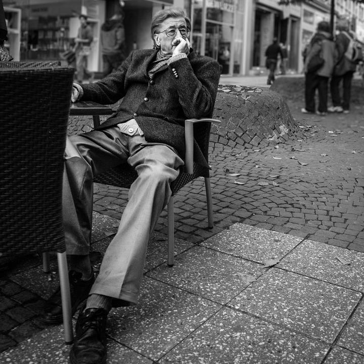 Frankfurt, Street, Man, Terrace, Perspective