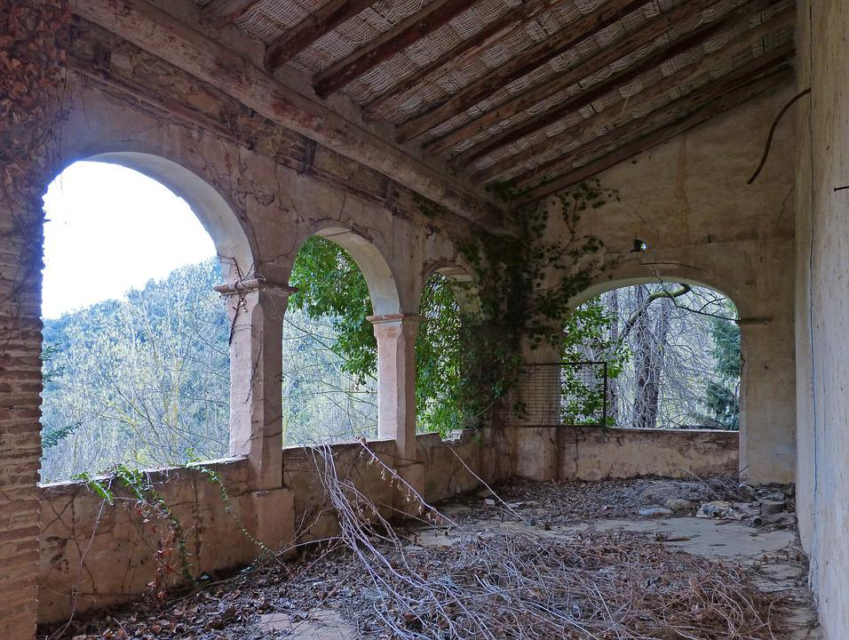 Porch, Terrace, Arches, Farmhouse, Old, Abandoned