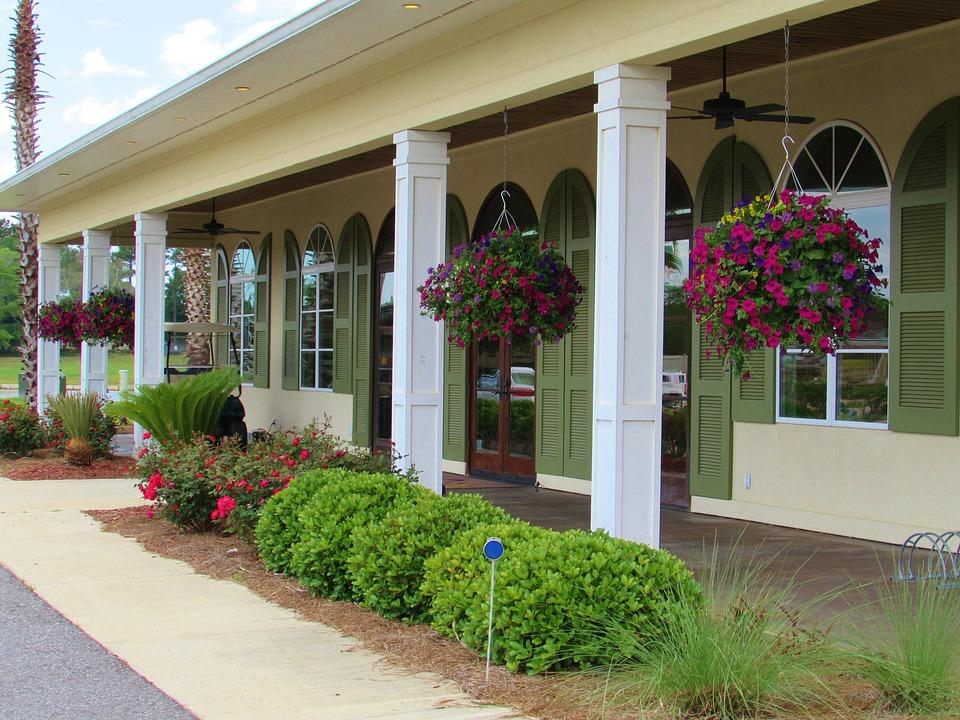 Veranda, Flowers, Hanging Baskets, Terrace, Floral