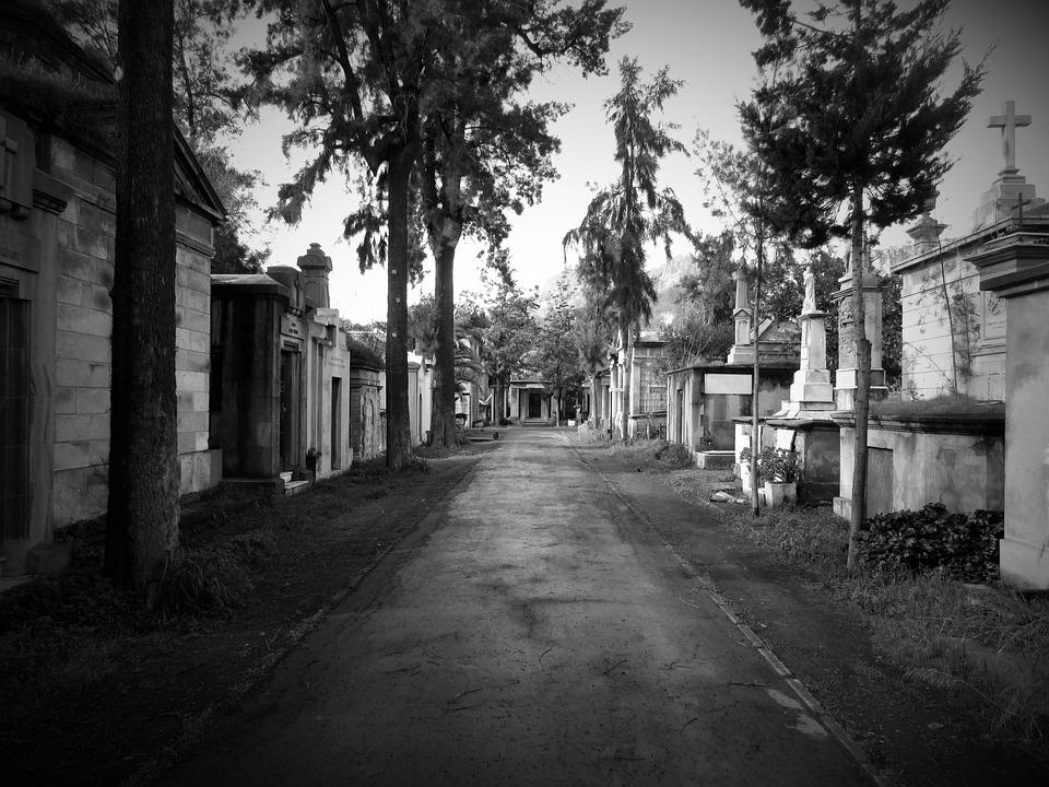 Cemetery, Path, Dark, Graves, Terror, Bw