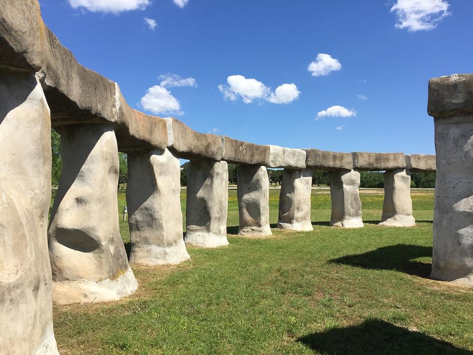 Stone Structure, Blue Sky, Stonehenge Replica, Texas